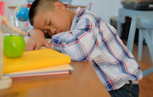 Young teen sleeping at his desk.